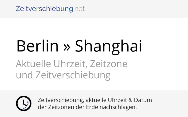 Zeitverschiebung Deutschland China
