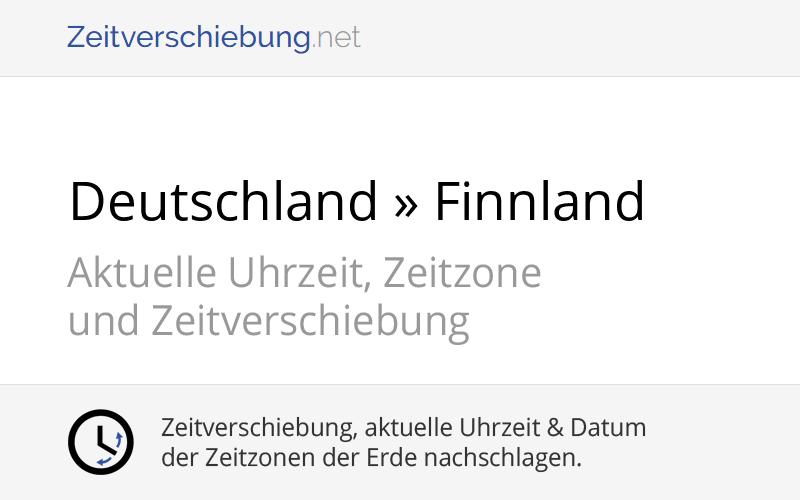Zeitverschiebung Finnland Deutschland